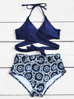 Surplice Halter Top With Floral Pattern Bikini Set