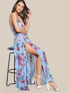 Flower Print Twist Slim Back High Slit Cami Dress