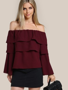 Layered Sleeve Off Shoulder Shirt WINE
