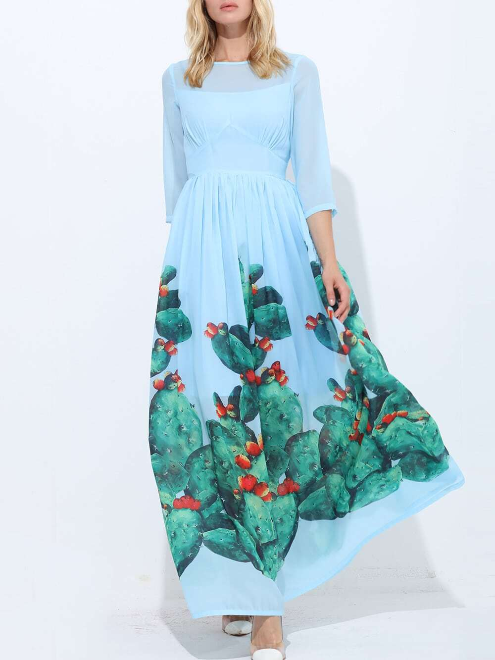 Фото Crew Neck Cactus Print Maxi Dress. Купить с доставкой