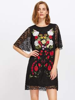 Flutter Sleeve Embroidered Lace Overlay Dress