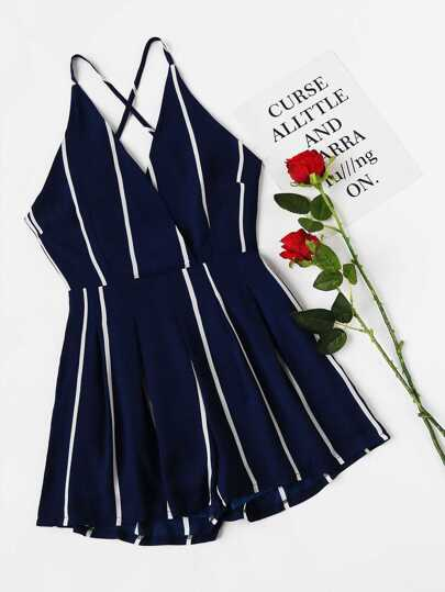 Stripe Surplice Front Criss Cross Back Romper