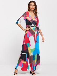Surplice Neckline Self Tie Patchwork Dress