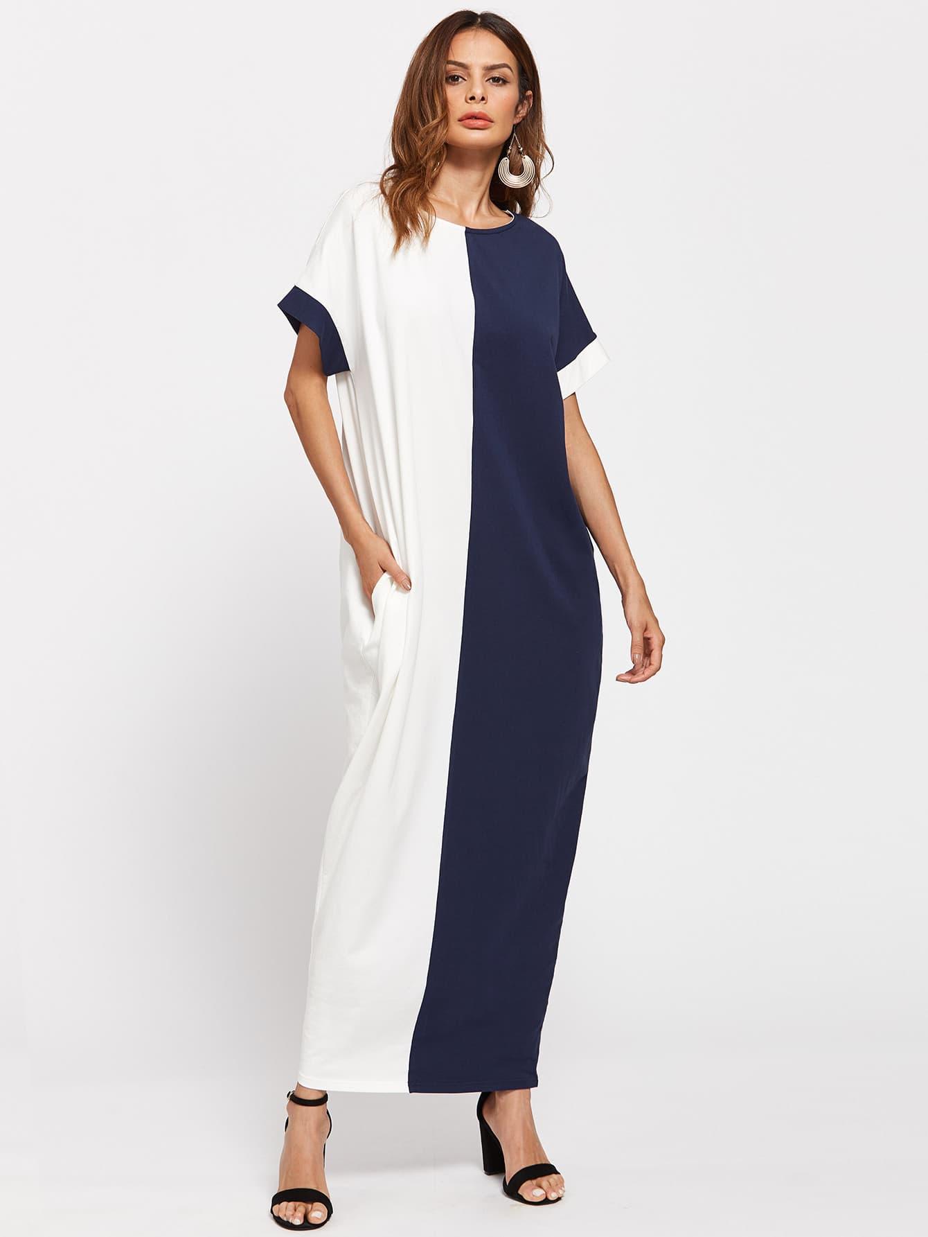 Фото Two Tone Side Pocket Detail Cocoon Dress. Купить с доставкой