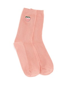 Peach Embroidery Calf Length Socks