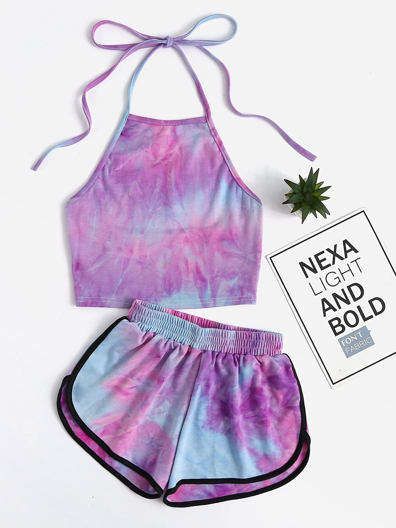 Halter Neck Water Color Crop Top With Ringer Shorts mock neck crop top