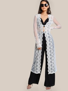 Scallop Edge Sheer Embroidered Mesh Longline Kimono