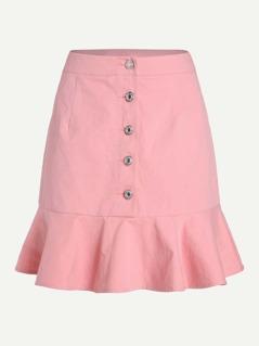 Button Front Ruffle Hem Skirt