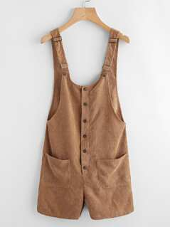Button Up Patch Pocket Detail Cord Overalls