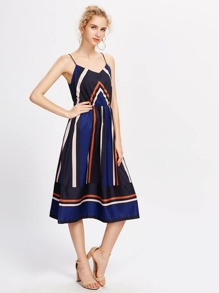 Color Block Striped Panel Cami Dress