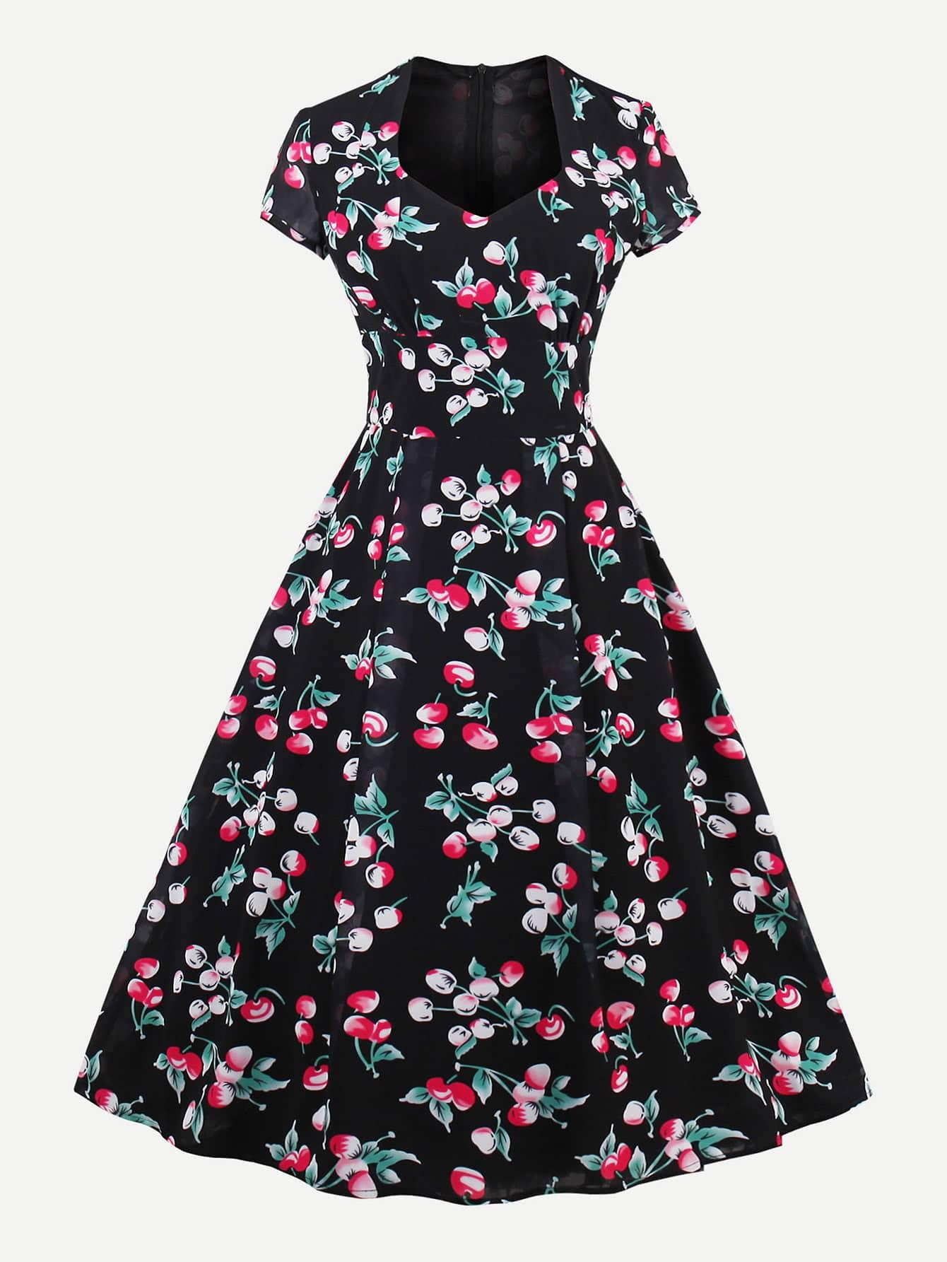 Фото Allover Cherry Print Queen Anne Neckline Circle Dress. Купить с доставкой