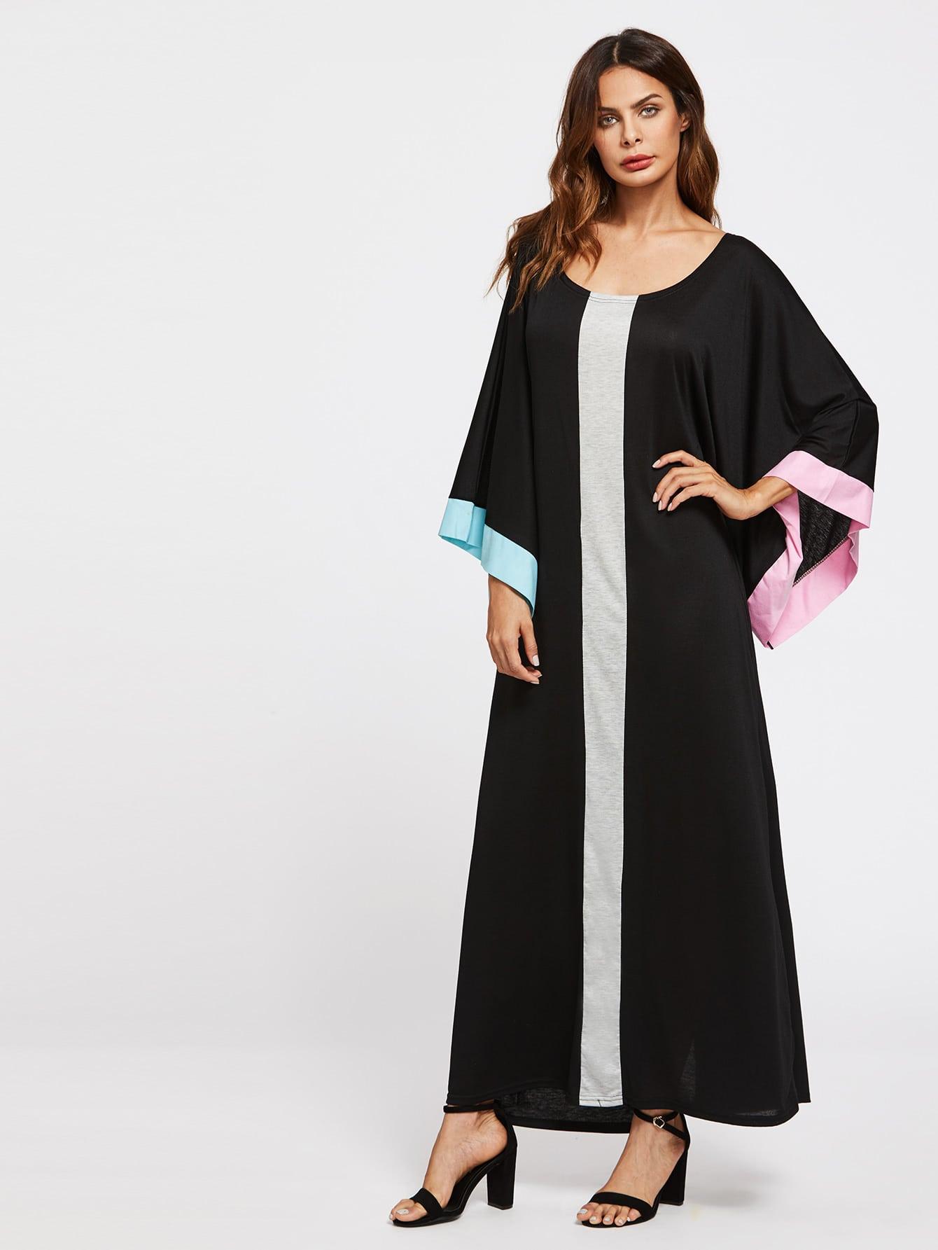 Contrast Panel Kimono Sleeve Kaftan Dress
