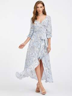 Gathered Sleeve Mixed Print Surplice Wrap Dress