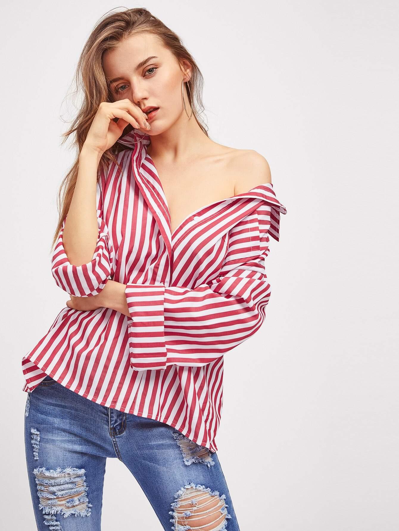 Drop Shoulder Striped Boyfriend Shirt