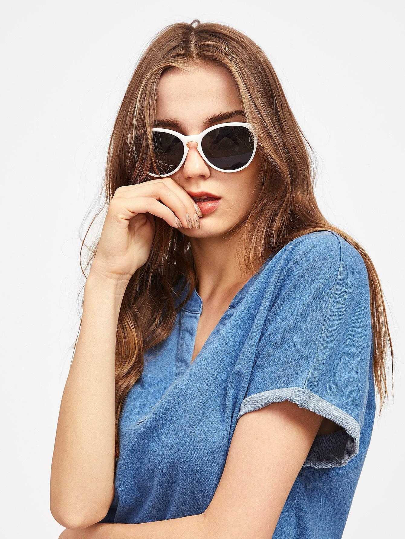 Фото Contrast Frame Cat Eye Sunglasses. Купить с доставкой