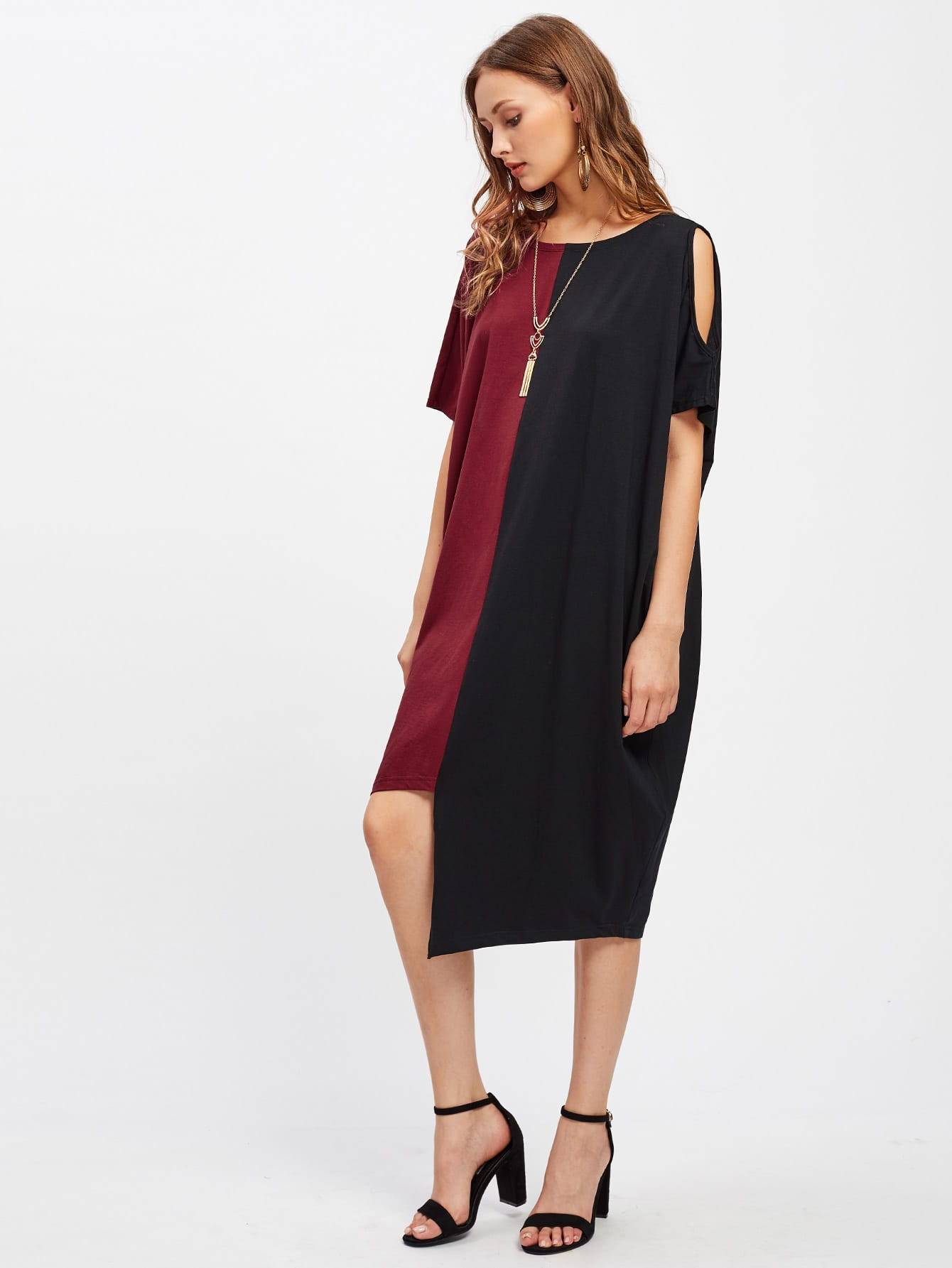 Two Tone Open Shoulder Staggered Hem Draped Dress two tone oblique shoulder split dress