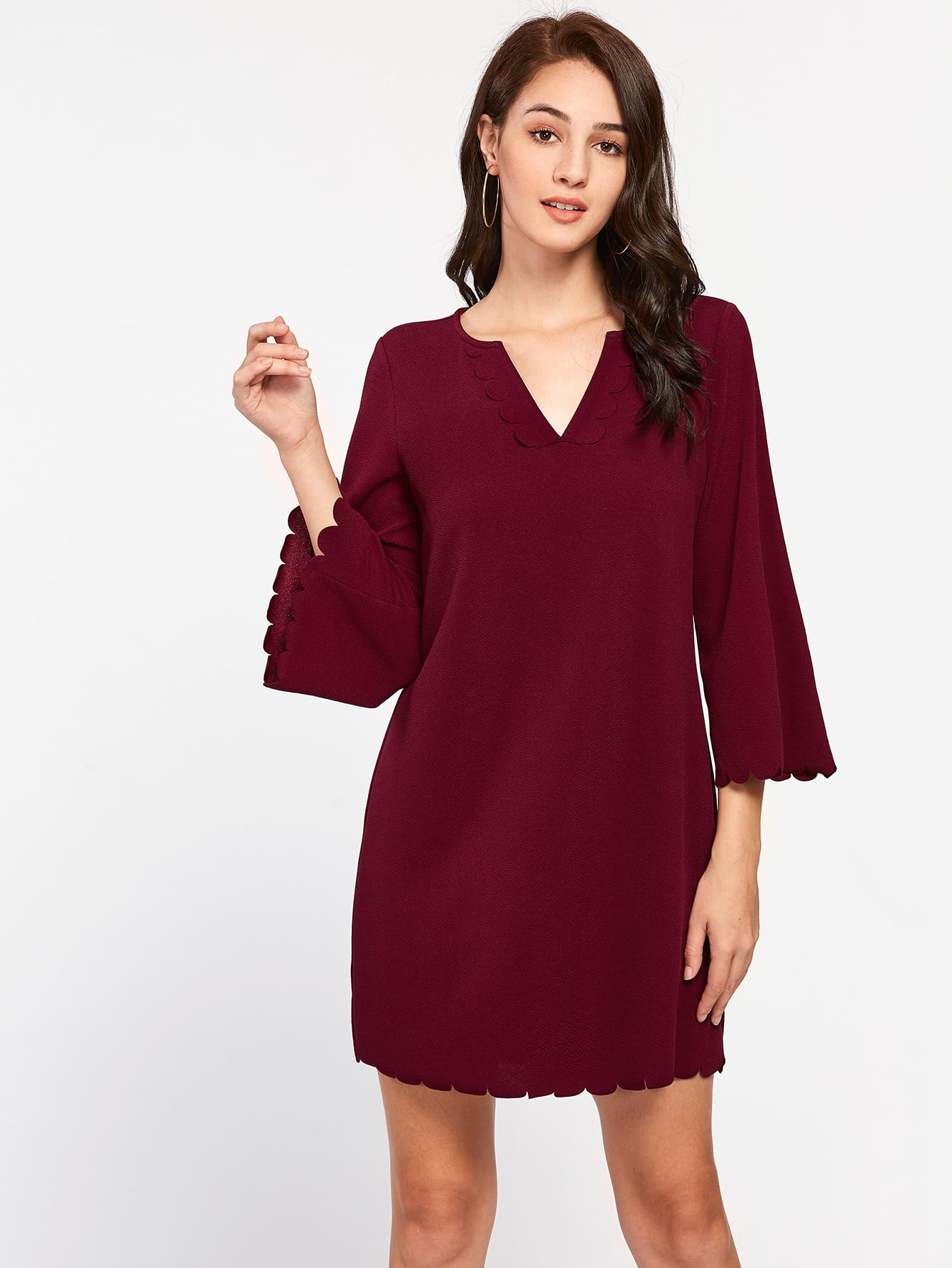 Scallop Detail Bell Sleeve Dress pearl detail layered bell sleeve ribbed top