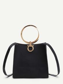 PU Shoulder Bag With Ring Handle