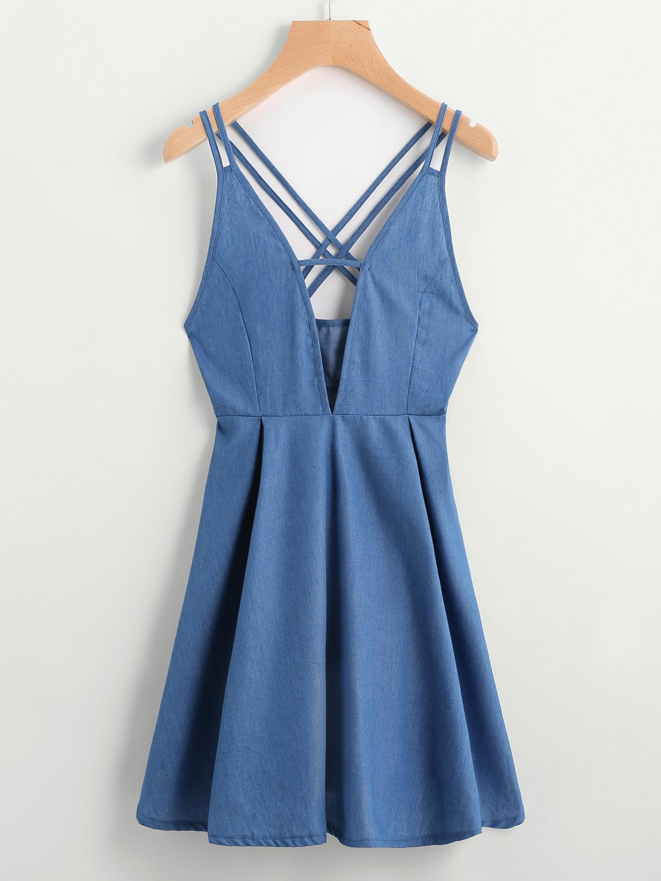 Фото V Cut Criss Cross Back A Line Chambray Dress. Купить с доставкой