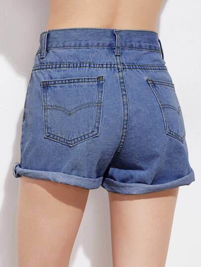 Rolled Cuffed Denim Shorts -SheIn(Sheinside)