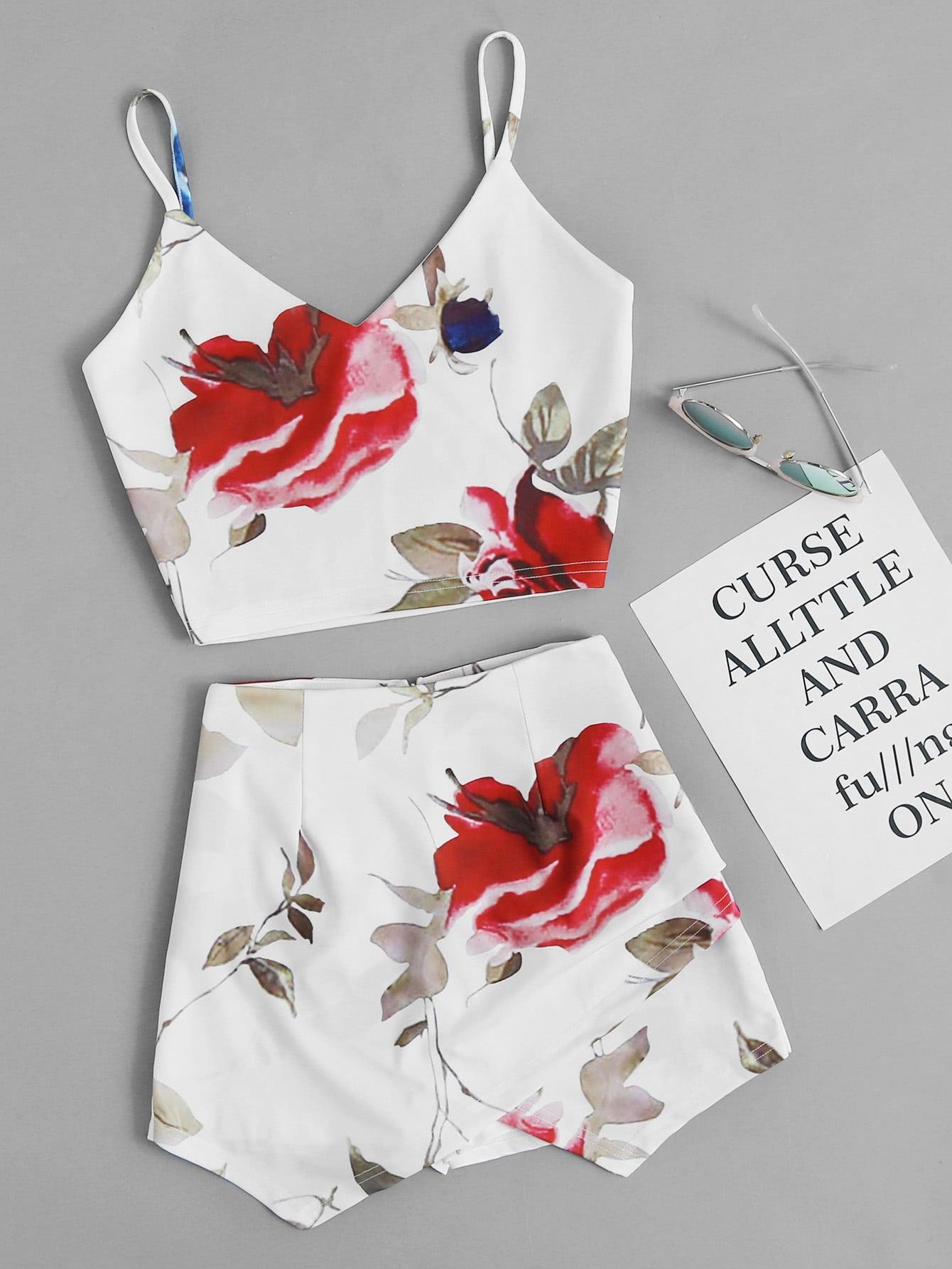 Купить Модный топ на бретельках и модные шорты-юбка, null, SheIn