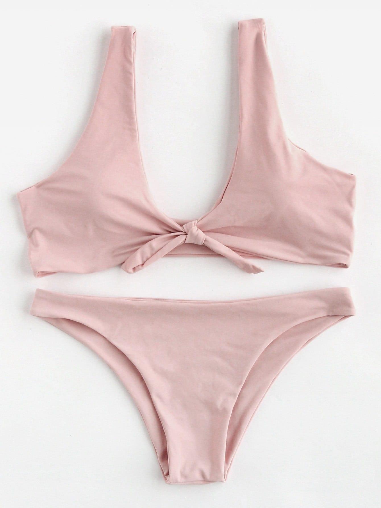 Bow Tie Scoop Neck Bikini Set