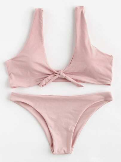 Bow Tie Scoop Neck Bikini Set
