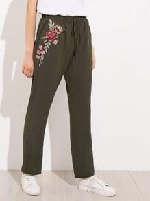 Embroidered Flower Applique Pants