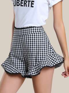 Gingham Lace Trim Flare Hem Shorts