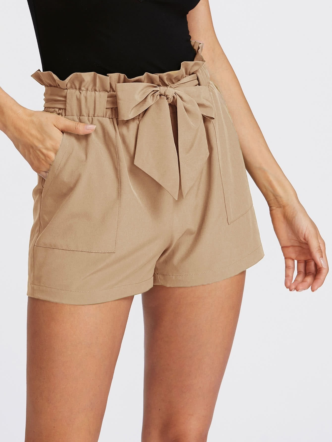 Self Tie Ruffle Waist Shorts dot