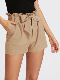 Self Tie Ruffle Waist Shorts