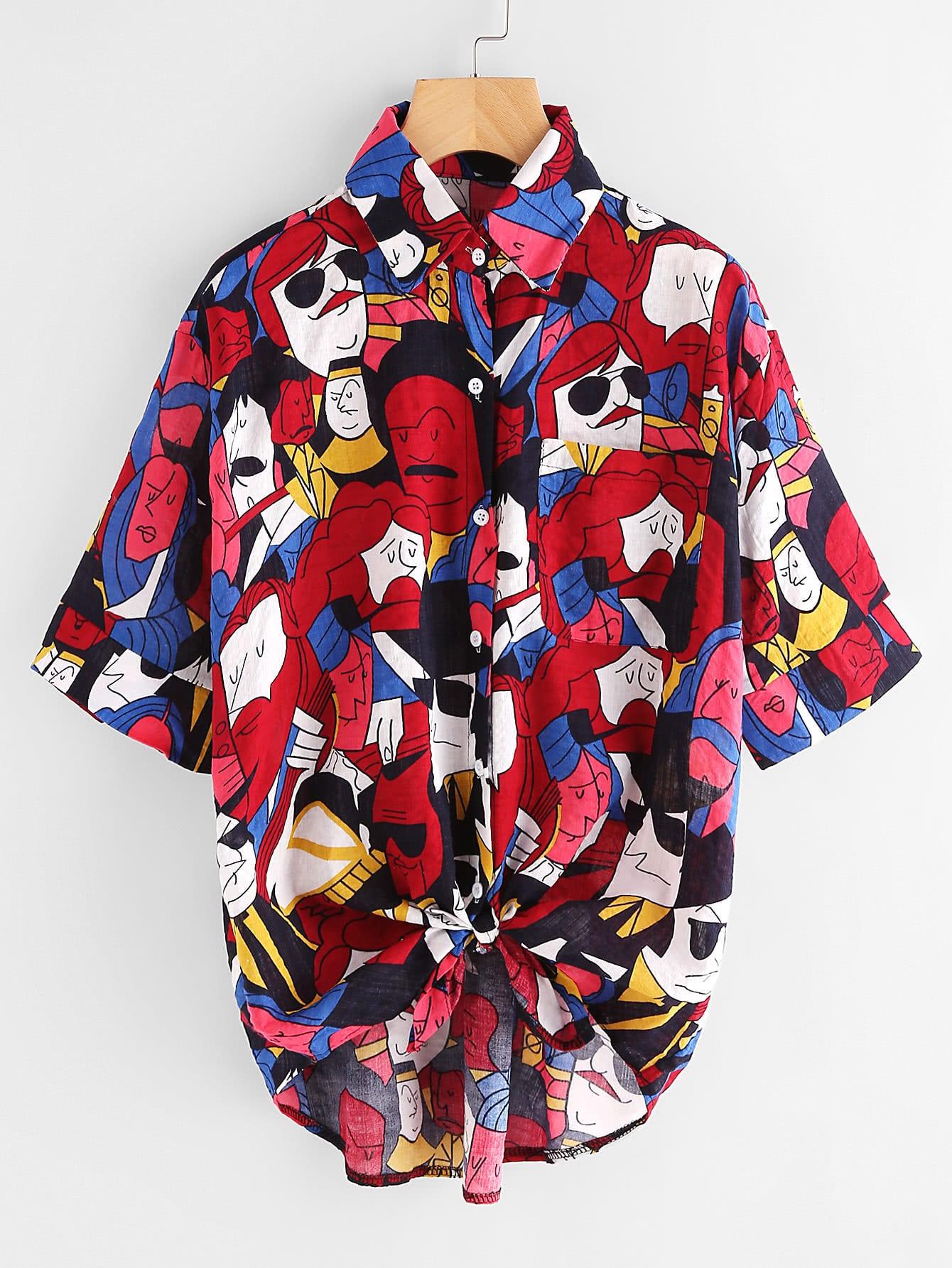 Allover Printed Dip Hem Knot Front Shirt allover skull print dip hem tee