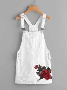 Ripped Embroidered Applique Denim Overall Dress