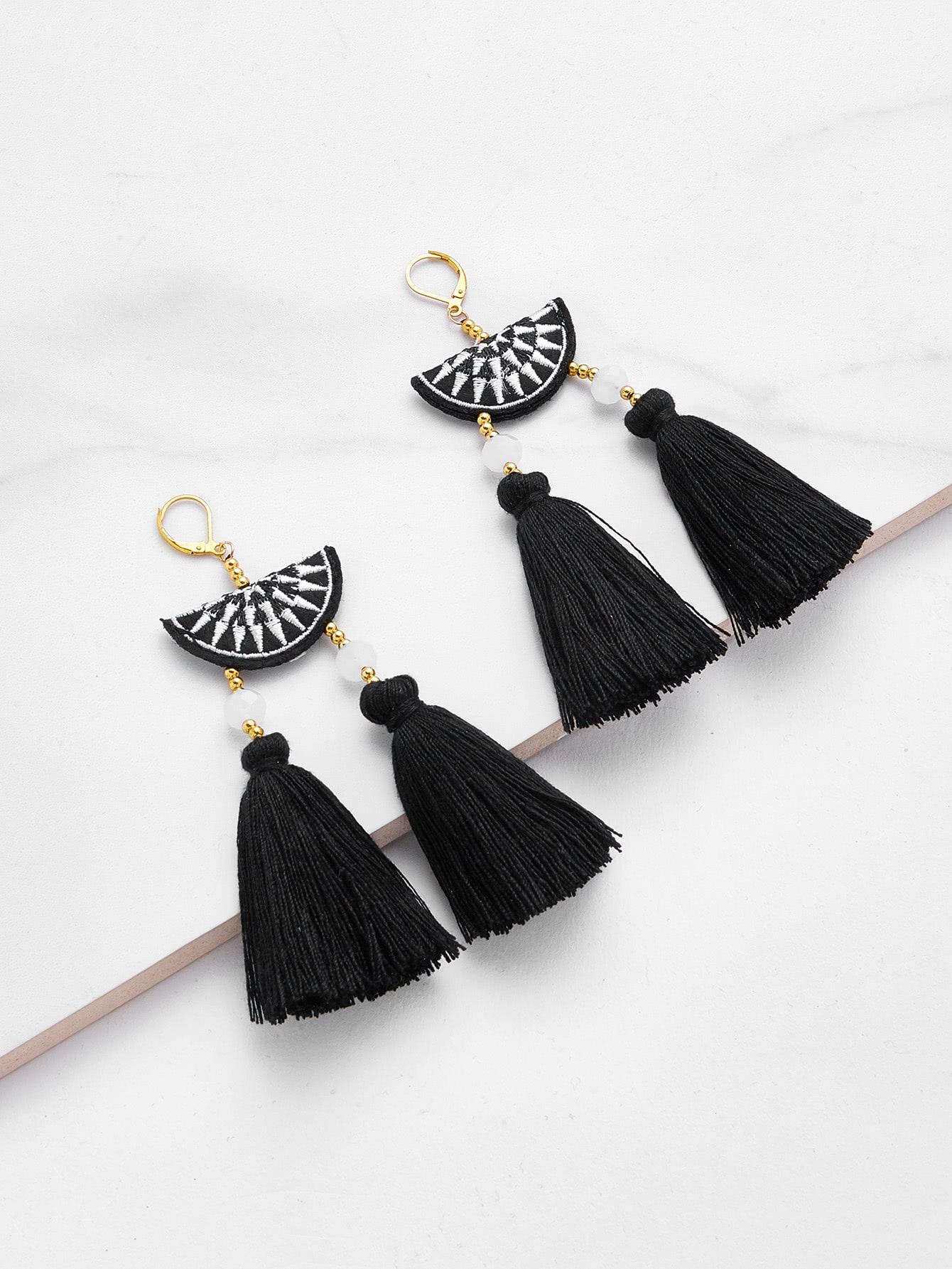 Embroidery Detail Two Tassel Drop Earrings two tone round flake drop earrings