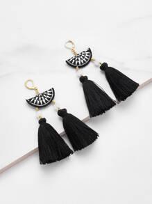 Embroidery Detail Two Tassel Drop Earrings