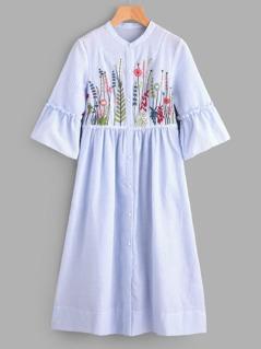 Frilled Sleeve Botanical Embroidered Smock Shirt Dress