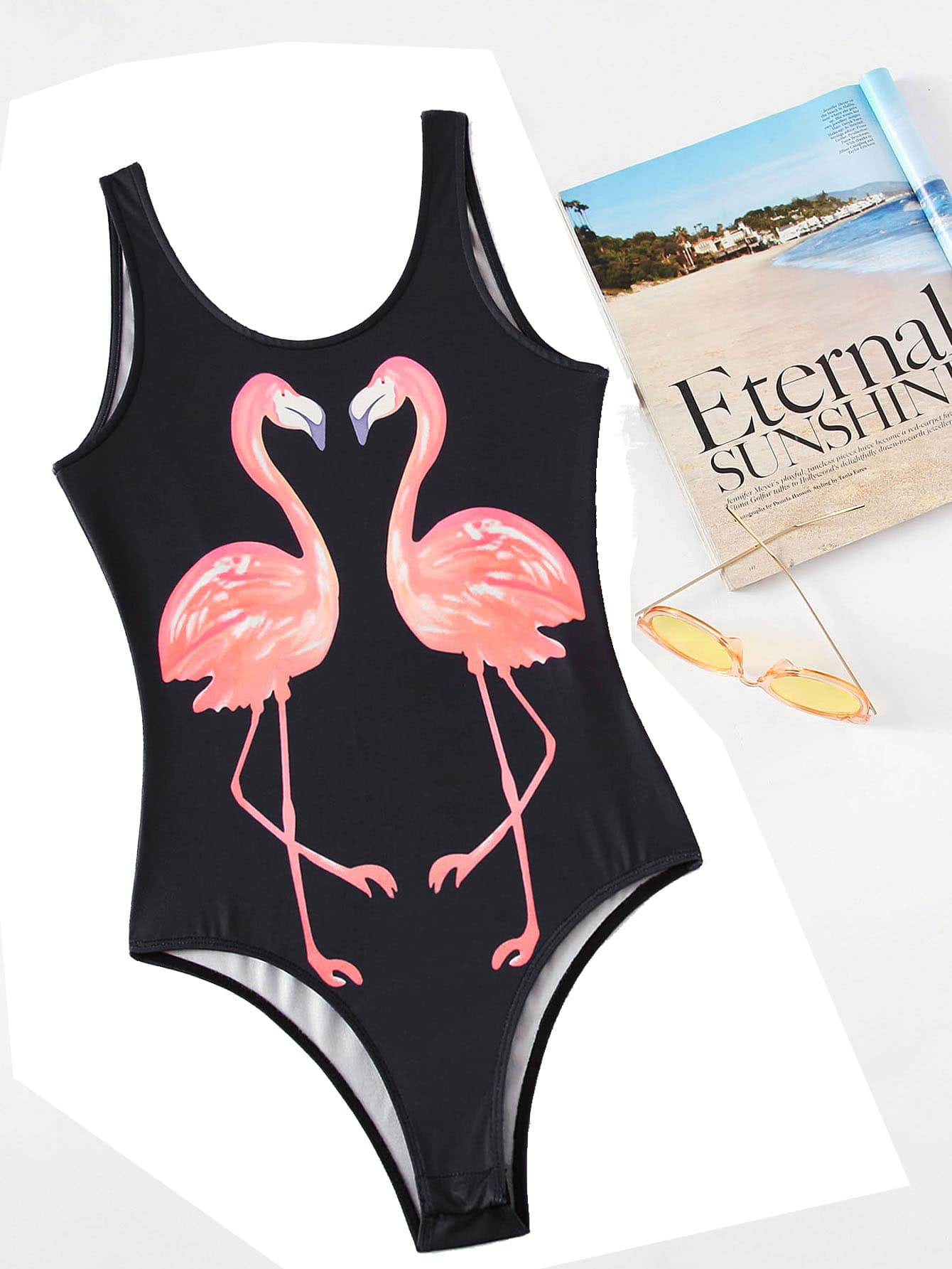 Flamingo Print Backless Tank Bodysuit