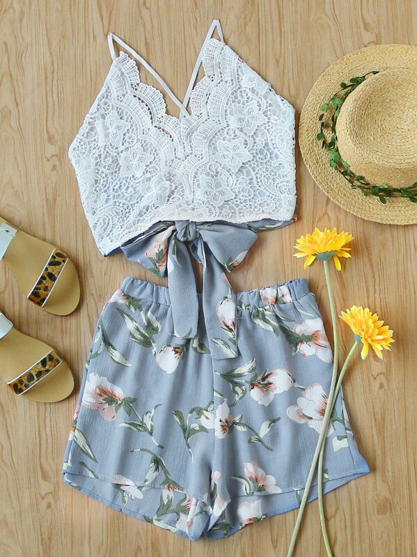 Lace Panel Criss Cross Bow Tie Back Cami Top With Floral Shorts, null