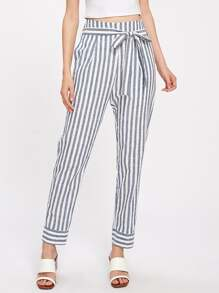 Mixed Striped Self Belted Pants
