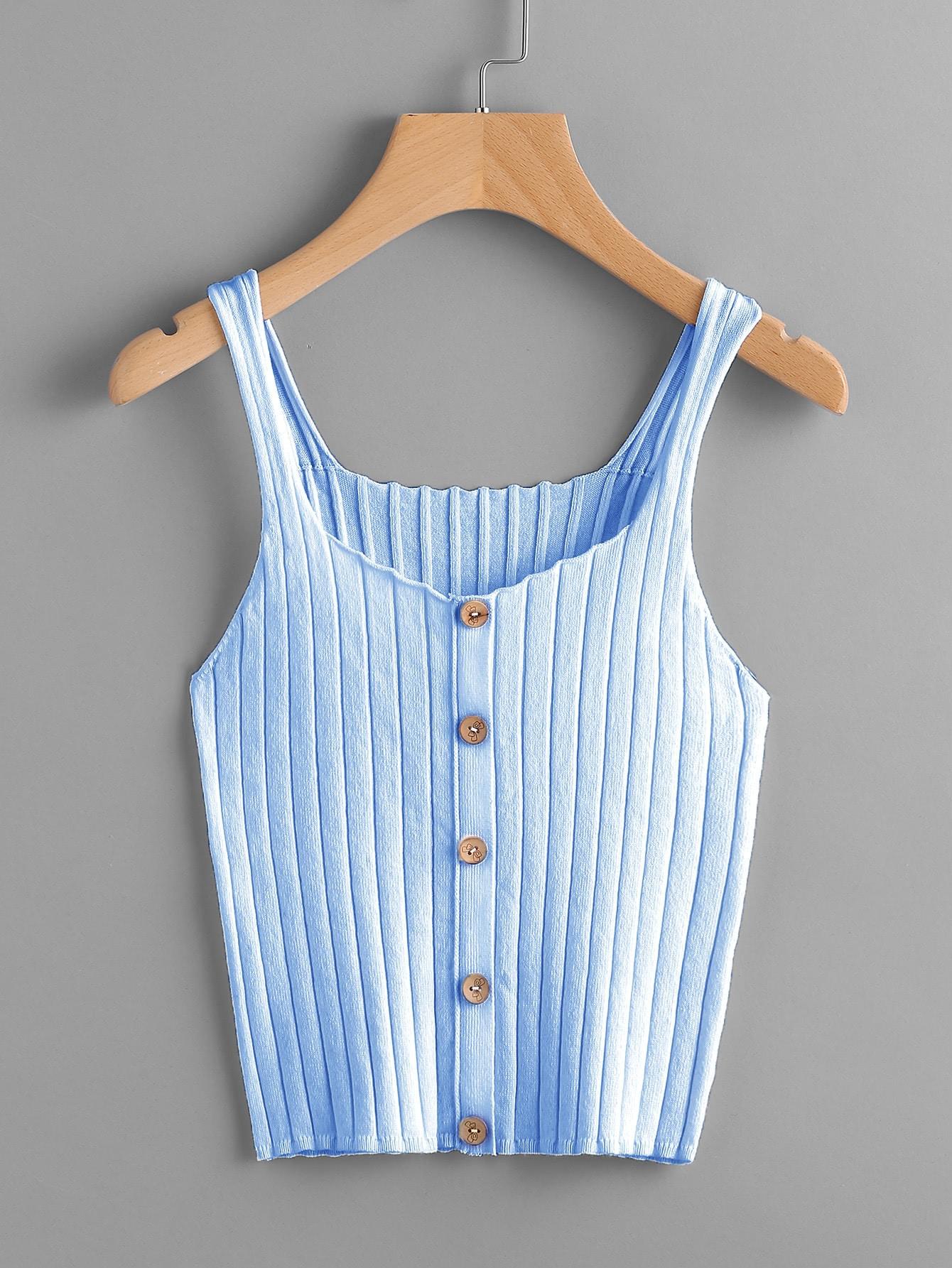 Button Front Rib Knit Top vest170712450
