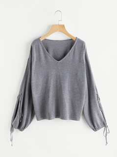 Drawstring Cuff Split Sleeve Jumper