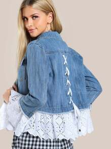 Lace Applique Denim Jacket DENIM