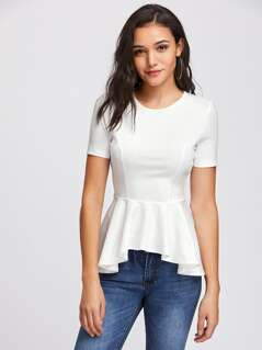 Princess Seam Asymmetric Peplum Top