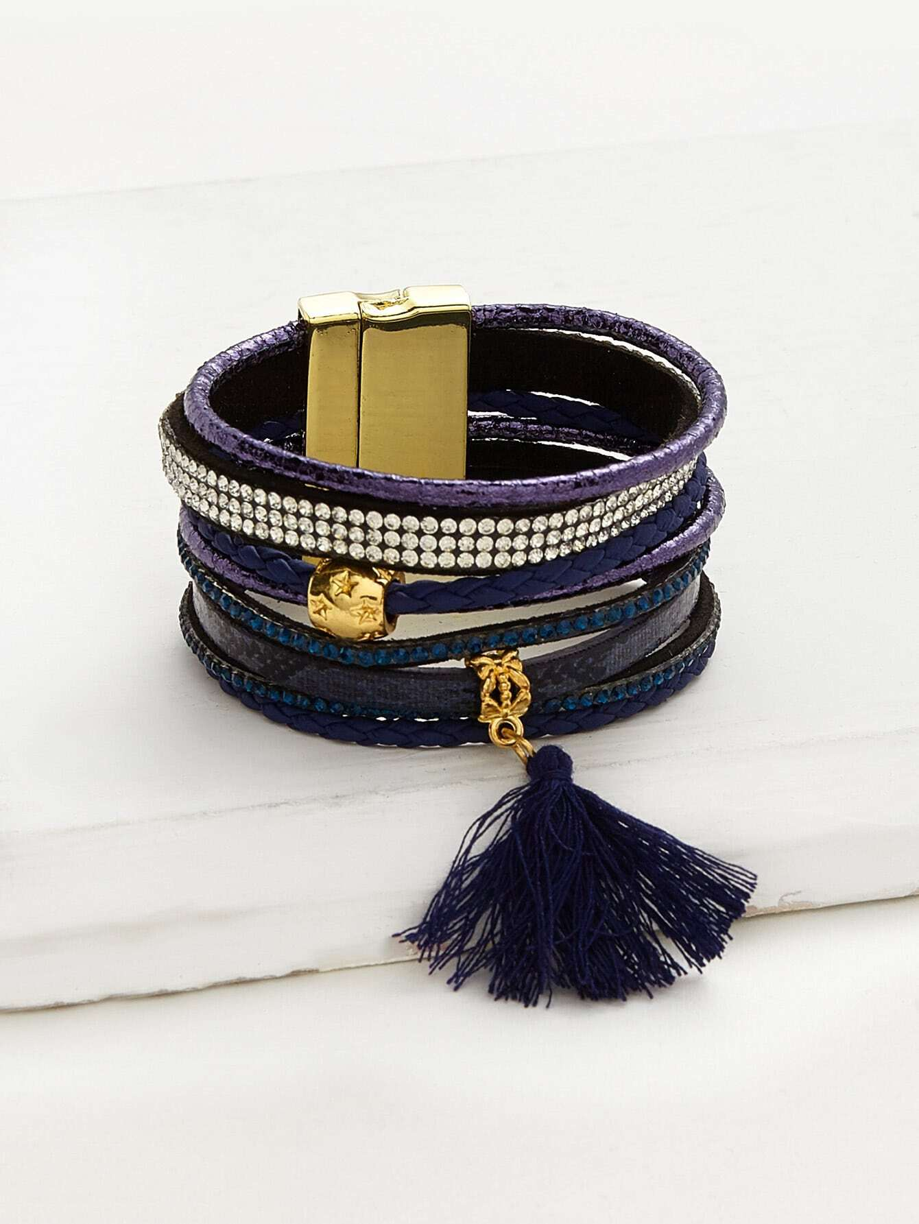Фото Tassel And Rhinestone Detail Layered Bracelet. Купить с доставкой