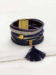 Tassel And Rhinestone Detail Layered Bracelet