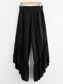 Kulotte Hosen mit Schleife um die Taille und Raffung  Bilder