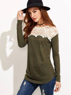 Contrast Embroidered Mesh Yoke T-shirt