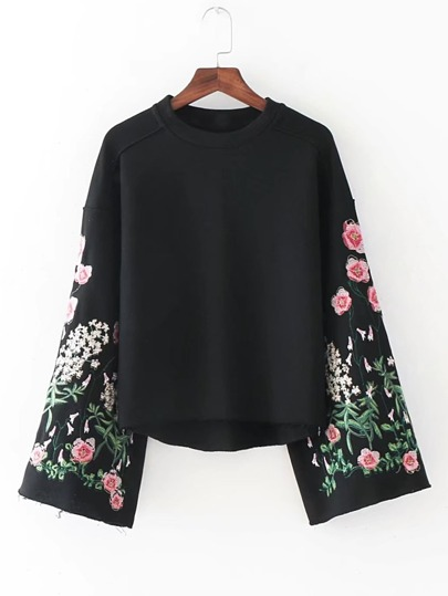 Bell Sleeve Flower Embroidery Sweatshirt