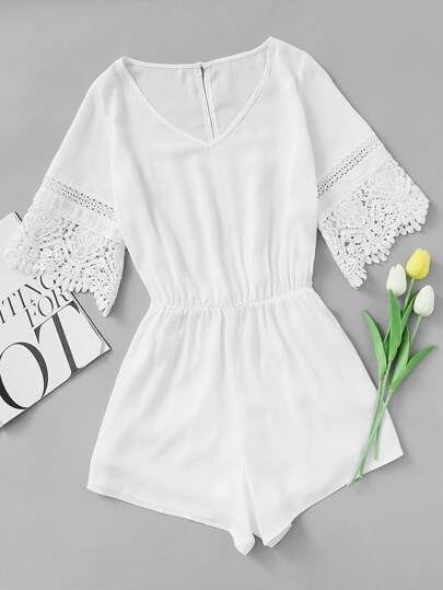 Crochet Trim Split Back Romper