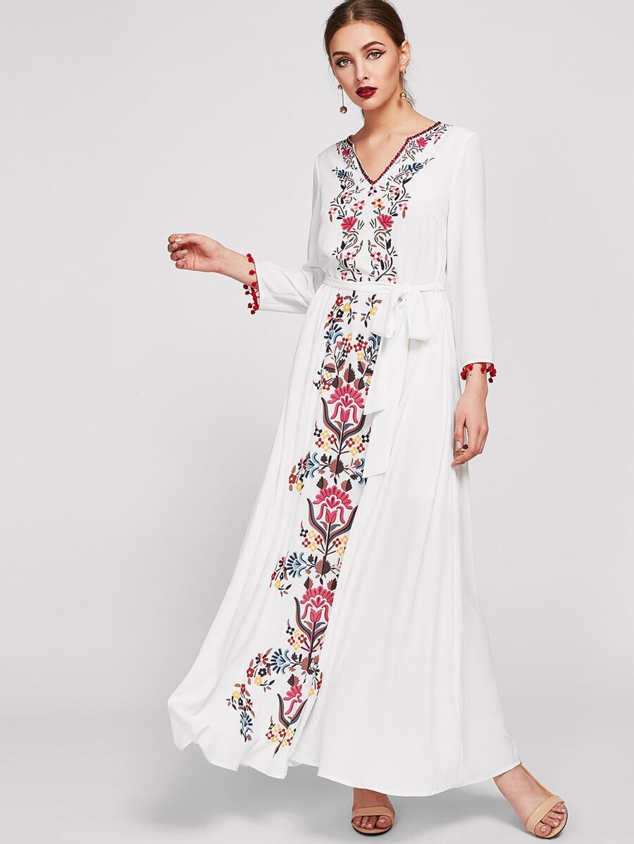 edbdb3b74b Shoptagr   Embroidered Tape Trim Symmetric Flower Print Dress by Shein